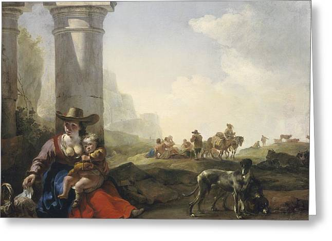 Donkey Greeting Cards - Italian Peasants among Ruins Greeting Card by Jan Weenix