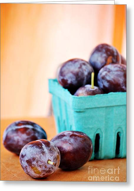 Organic Foods Greeting Cards - Italian Plums Greeting Card by HD Connelly