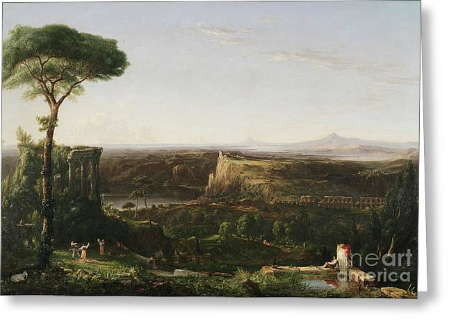 Cole Paintings Greeting Cards - Italian Scene Composition Greeting Card by Thomas Cole