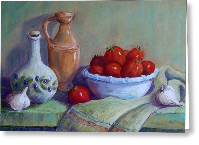Italian Pottery Greeting Cards - Italian Still Life Greeting Card by Candy Mayer