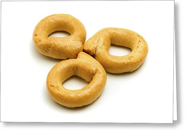 White Background Greeting Cards - Italian Taralli Greeting Card by Fabrizio Troiani