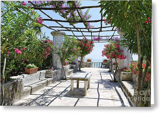 Trellis Greeting Cards - Italian Villa Garden Greeting Card by George Oze