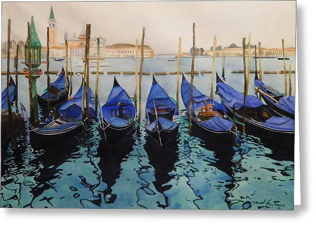 Seascape With A Boat Greeting Cards - Italian Waters Greeting Card by Terry Honstead