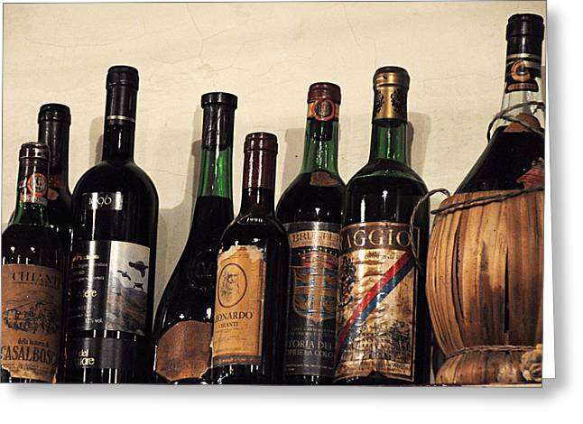 Red Wine On Shelf Photographs Greeting Cards - Italian Wine Greeting Card by Marion McCristall