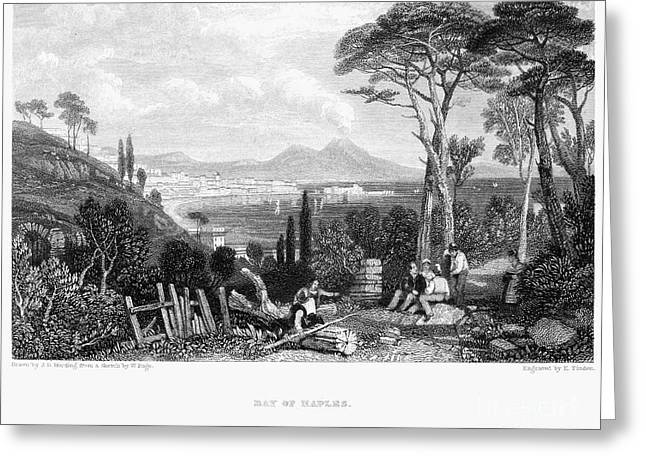 Italian Landscapes Greeting Cards - Italy: Bay Of Naples, 1832 Greeting Card by Granger