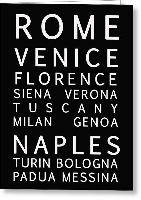 Italy Cities - Bus Roll Style Greeting Card by Georgia Fowler