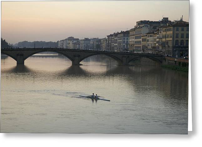 Rowing Greeting Cards - Italy, Florence, Arno River And Rowers Greeting Card by Keenpress