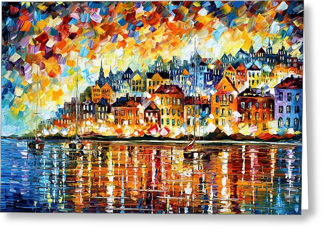 Europe Paintings Greeting Cards - Italy Harbor Greeting Card by Leonid Afremov