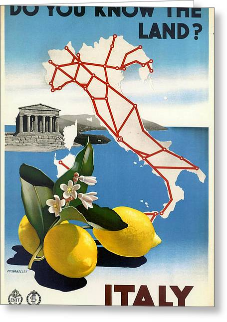 Vintage Map Digital Art Greeting Cards - Italy Greeting Card by Nomad Art And  Design