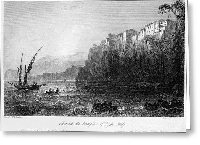 Italian Landscapes Greeting Cards - ITALY: SORRENTO, c1840 Greeting Card by Granger