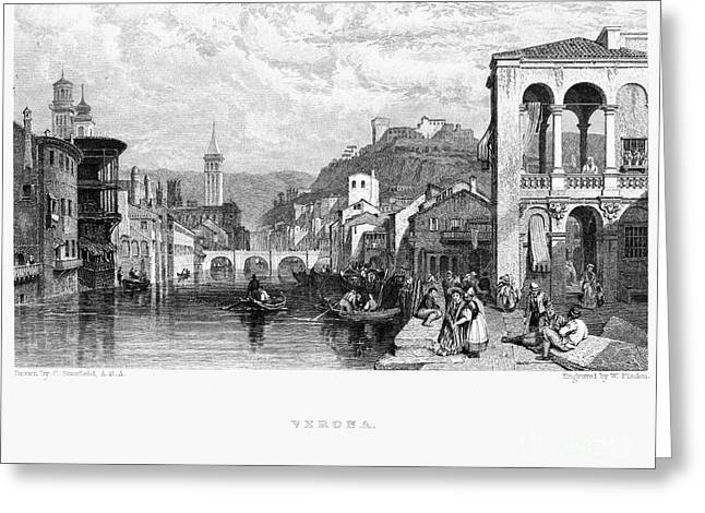 1833 Photographs Greeting Cards - Italy: Verona, 1833 Greeting Card by Granger