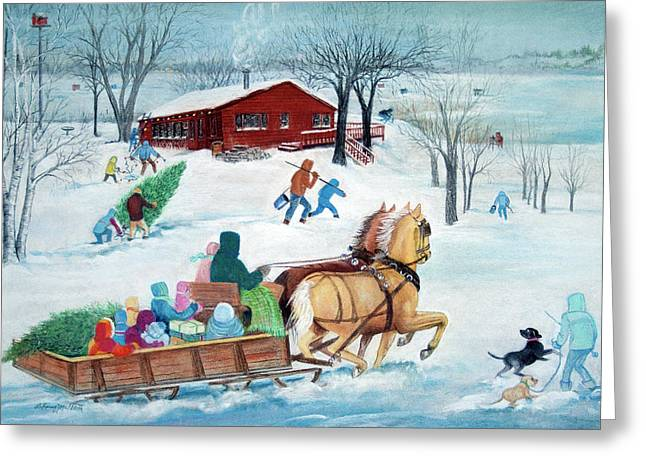 Ice-skating Pastels Greeting Cards - Its a Sleigh Ride Greeting Card by Rose McIlrath