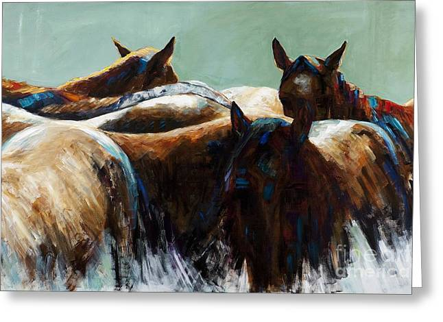 Abstract Equine Greeting Cards - Its All About the Brush Stroke Greeting Card by Frances Marino