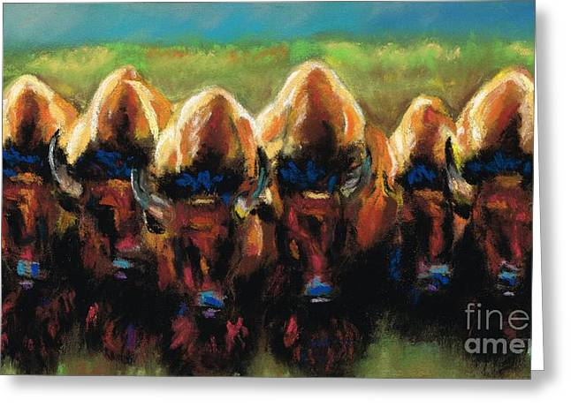 Western Western Art Pastels Greeting Cards - Its All Bull Greeting Card by Frances Marino