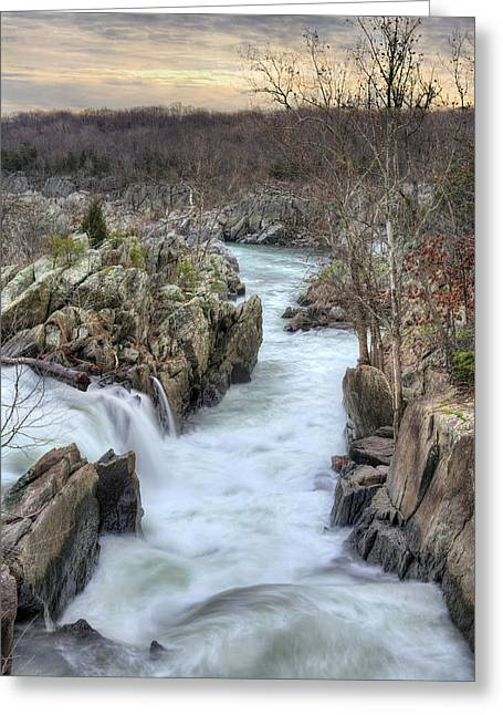 """great Falls"" Greeting Cards - Its All Downhill Greeting Card by JC Findley"