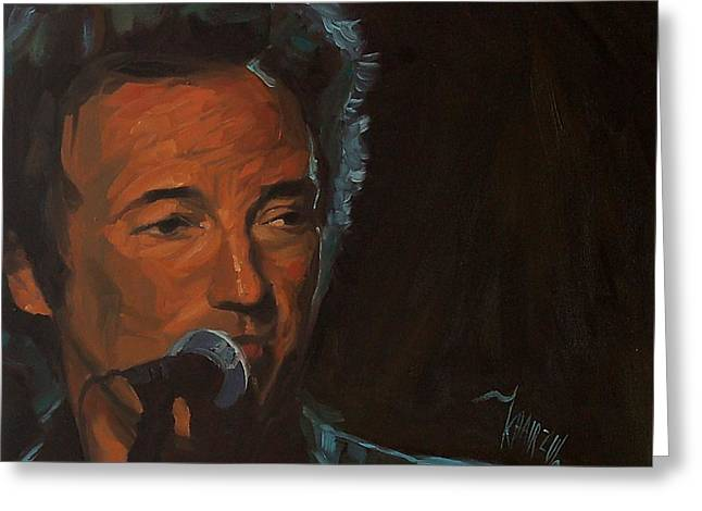 It's Boss Time - Bruce Springsteen Portrait Greeting Card by Khairzul MG