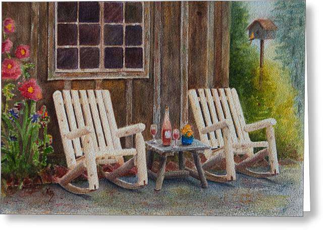 Rocking Chairs Paintings Greeting Cards - Its Five OClock Somewhere Greeting Card by Karen Fleschler