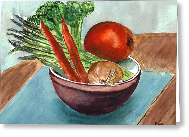 Broccoli Paintings Greeting Cards - Its healthy Greeting Card by Clara Sue Beym