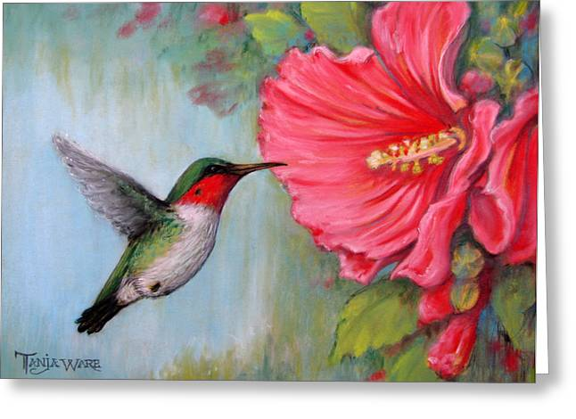 Green Pastels Greeting Cards - Its Hummer Time Greeting Card by Tanja Ware