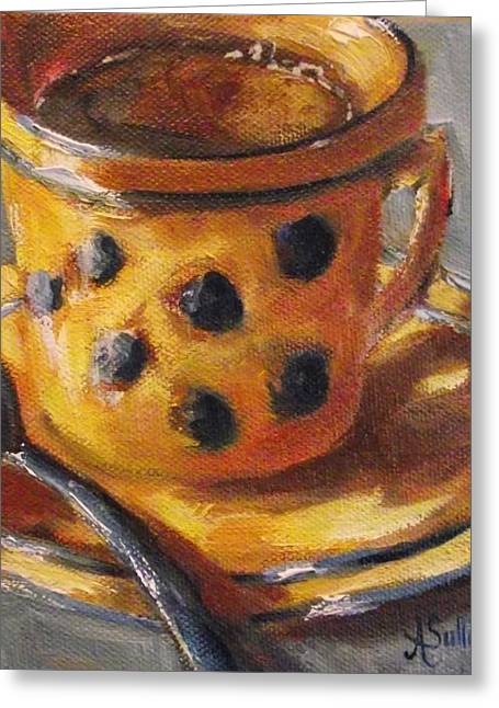 Stoneware Paintings Greeting Cards - Its Just Too Hot For Coffee Greeting Card by Angela Sullivan
