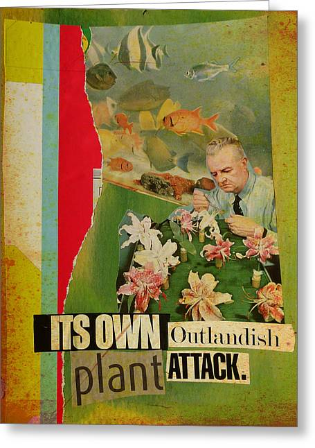 Recently Sold -  - Adam Kissel Greeting Cards - Its Own Outlandish Plant Attack Greeting Card by Adam Kissel