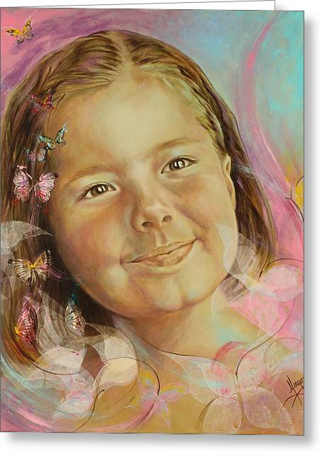 Innocence Greeting Cards - Ivanas portrait Greeting Card by Karina Llergo Salto