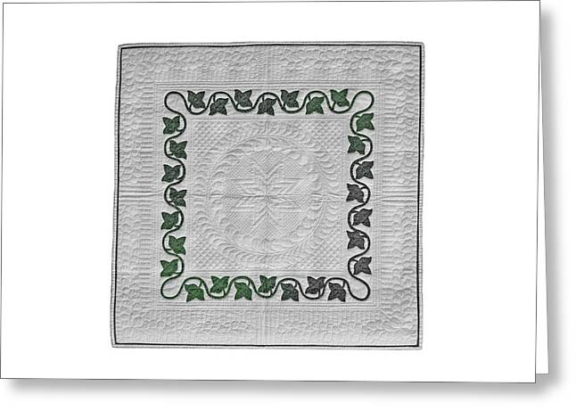 King Tapestries - Textiles Greeting Cards - Ivy and Feathers Greeting Card by Deborah King