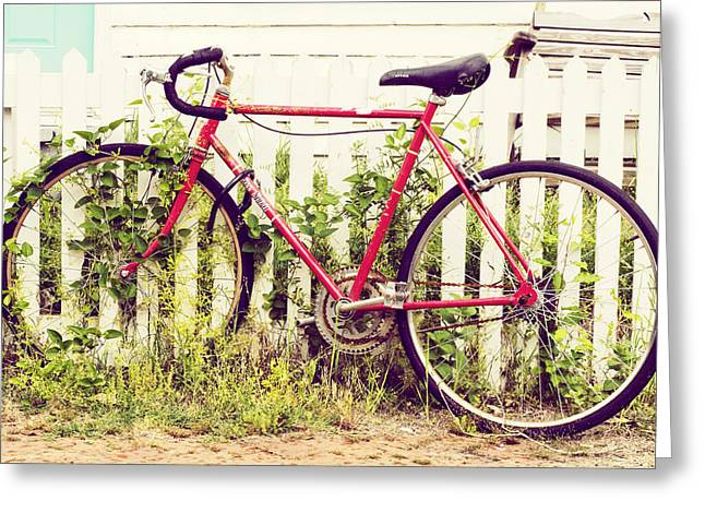 Country Cottage Greeting Cards - Ivy Bike Greeting Card by Laura George