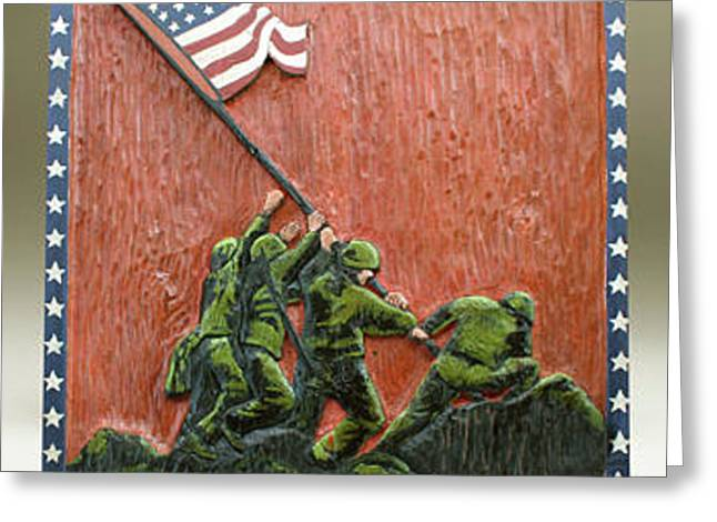 Patriotic Reliefs Greeting Cards - Iwo Jima Greeting Card by James Neill
