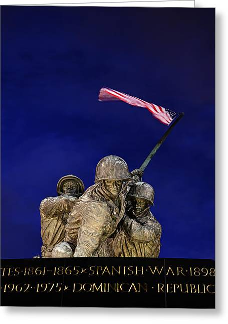 War Greeting Cards - Iwo Jima Memorial Front View Greeting Card by Metro DC Photography