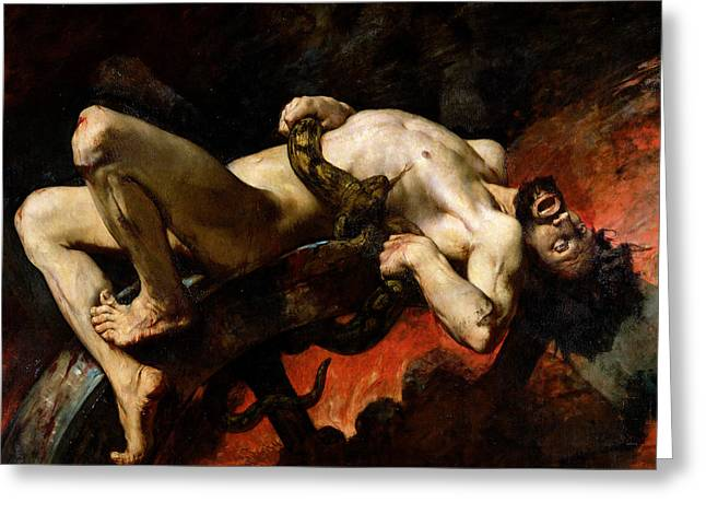 Doomed Greeting Cards - Ixion Thrown into Hades Greeting Card by Jules Elie Delaunay