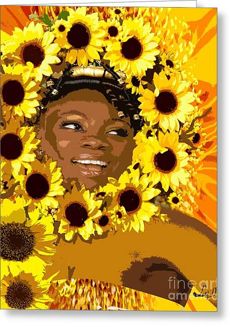 Staples Mixed Media Greeting Cards - Iyalorde Girasoles Greeting Card by Liz Loz