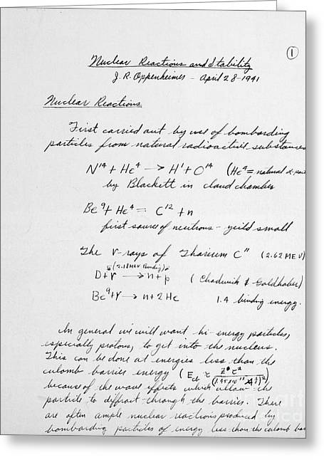 D.w Greeting Cards - J. Robert Oppenheimers Equations Greeting Card by Science Source