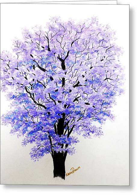 Fauna Pastels Greeting Cards - Jacaranda Time Greeting Card by Karin Kelshall- Best