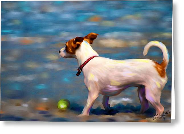 Dog Beach Card Greeting Cards - Jack at the Beach Greeting Card by Michelle Wrighton