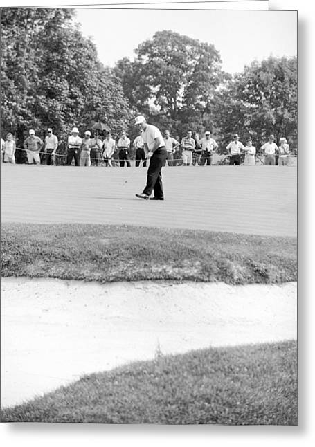 Us Open Golf Greeting Cards - Jack Nicklaus drops putt at 1964 US Open at Congressional Country Club Greeting Card by Jan Faul