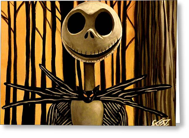 Skelington Greeting Cards - Jack Skelington Greeting Card by Tom Carlton