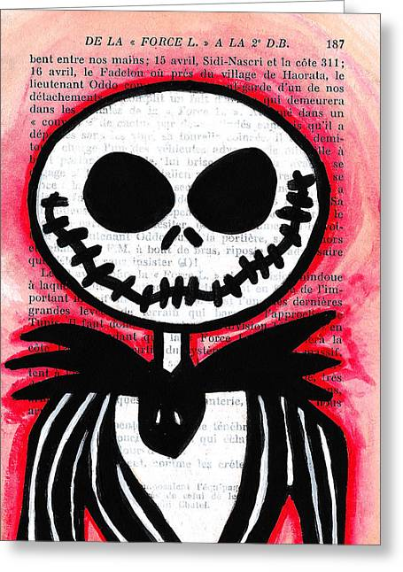 Burton Drawings Greeting Cards - Jack Skellington Greeting Card by Jera Sky