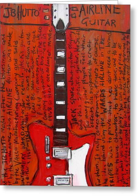 Iconic Guitar Greeting Cards - Jack Whites Airline JB Hutto Greeting Card by Karl Haglund