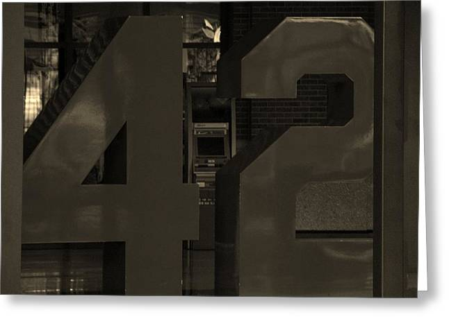 Shea Stadium Digital Greeting Cards - JACKIE ROBINSON 42 in SEPIA Greeting Card by Rob Hans