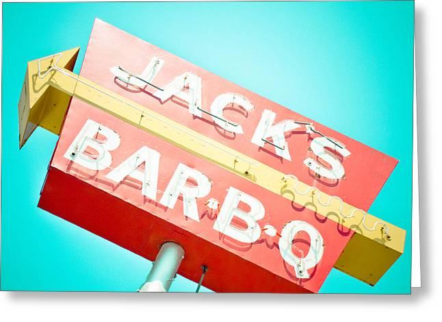 Jack's Bar-B-Q Greeting Card by David Waldo