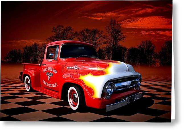 1956 Ford Truck Greeting Cards - Jacks Speed Shop 1956 Ford Pickup Greeting Card by Tim McCullough