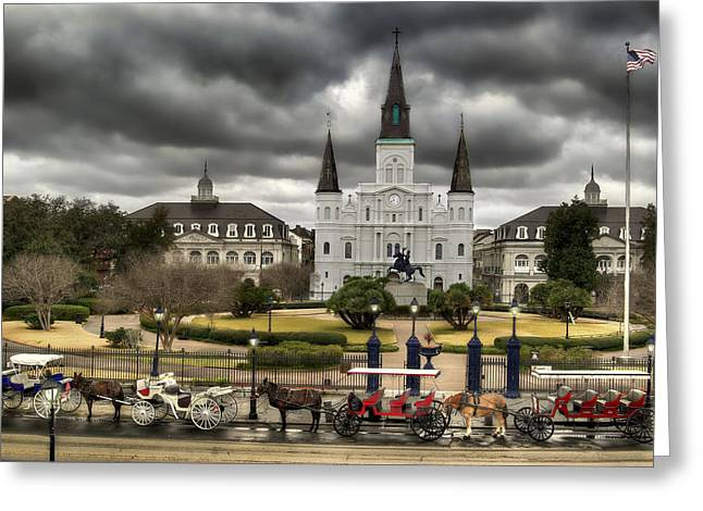 Carriage Digital Art Greeting Cards - Jackson Square New Orleans Greeting Card by Don Lovett