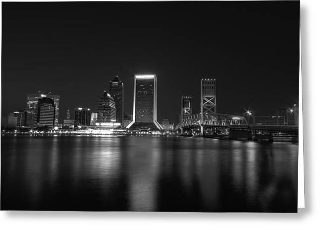 Jacksonville Landing at Night Greeting Card by Sharon Batdorf