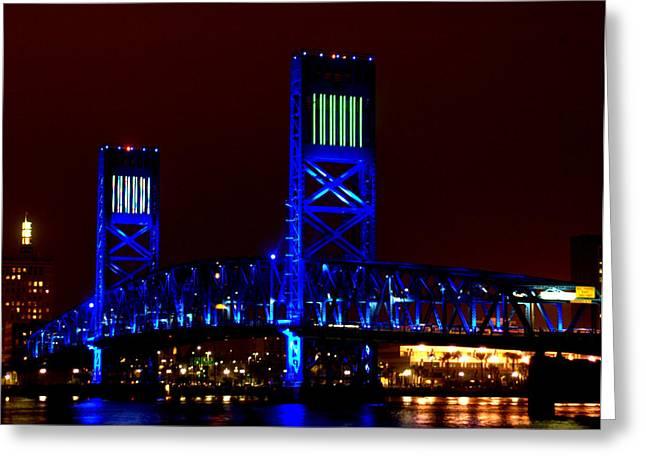 Jacksonville Greeting Cards - Jacksonville Main Street Bridge Greeting Card by David  Brown
