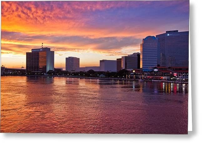 City Skylines Greeting Cards Greeting Cards - Jacksonville Skyline at Dusk Greeting Card by Debra and Dave Vanderlaan