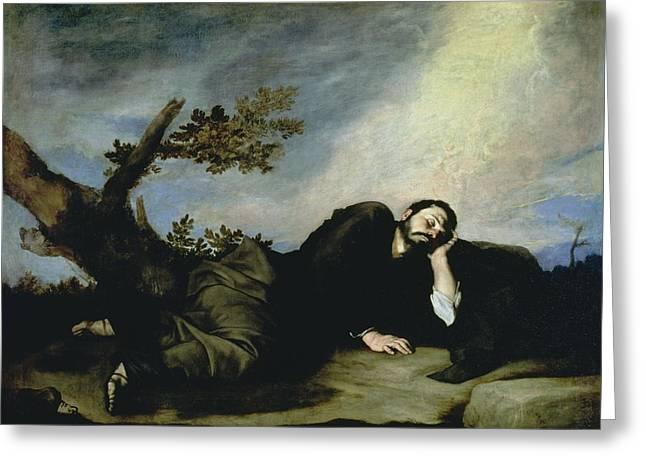 Slumbering Greeting Cards - Jacobs Dream Greeting Card by Jusepe de Ribera