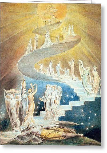 Genesis Greeting Cards - Jacobs Ladder Greeting Card by William Blake