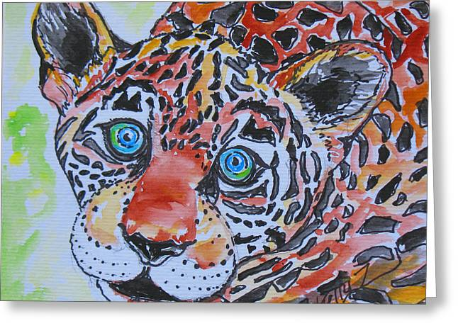 Jaguars Mixed Media Greeting Cards - Jagger the Jaguar Cub Greeting Card by Kelly     ZumBerge