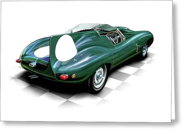 Indy Car Greeting Cards - Jaguar D Type Greeting Card by David Kyte